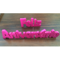 Feliz Aniversário Rosa Pink - Palavra Decorativa